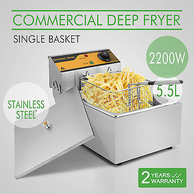 VEVOR 2500W Electric Commercial 5.5L Deep Fat Fryer Tank Chip - Stainless Steel