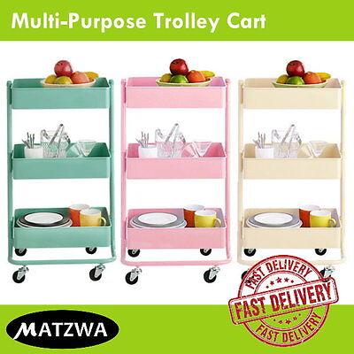 Storage Utility Cart Home Kitchen Rolling Serving Trolley (3-Tier Multi-Purpose)