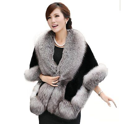 Caracilia Women's Faux Fur Wrap Wedding Cape Shawl For Evening Party Gray-Black