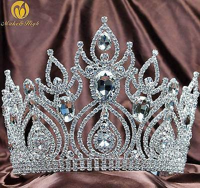 Gorgeous Beauty Pageant Tiara Bridal Crown Clear Crystal Wedding Party Prom New