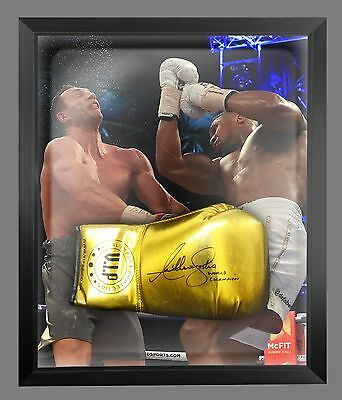 New Anthony Joshua Vs klitschko Signed Gold VIP Boxing Glove In A Dome  - A