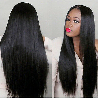 Natural Wig Hair Old Full Wigs Women Lady Long Brazilian Black Straight
