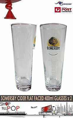 Somersby English Cider 2 400ml Conical Flat Faced Glasses BNWOT Free Post