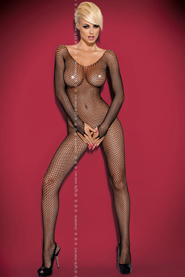 Offener Netz Catsuit schwarz Open Body Stocking transparent Stretch langarm N109