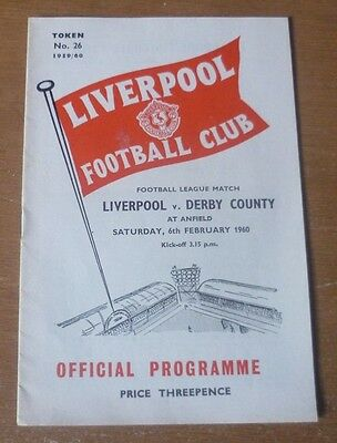 Liverpool v Derby County, 1959/60 - Division Two *Abandoned* Match Programme.