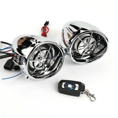 Chrome Stereo Bluetooth Motorcycle Audio Amplifier Speaker System MP3 FM Harley