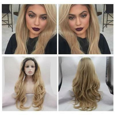 """20""""-26"""" Natural Wavy1B/Blonde Lace Front Wig Heat Resistant Synthetic Hair"""