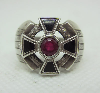 ANTIQUE RUSSIAN 88 SILVER ENAMEL RING with St.GEORGE CROSS and RUBY