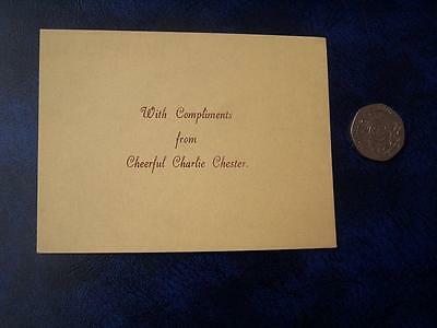 Charlie Chester  -  Ephemera - Music Hall Theatre Film History - Compliment Slip