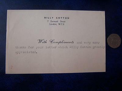 Billy Cotton -  Ephemera - Music Hall Theatre Film History - Compliment Slip