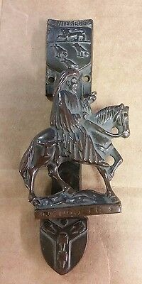 """EARLY 1900's CHAUCER ON HORSE BRASS DOOR KNOCKER CANTERBURY   5.5"""" X 2.25"""""""