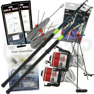 NGT Fishing 2x Beachcaster Set 2 x Silk 70 Reels Tripod Feathers Leads & Tackle