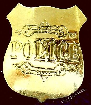Old wild west Police solid polished brass lawman badge #147