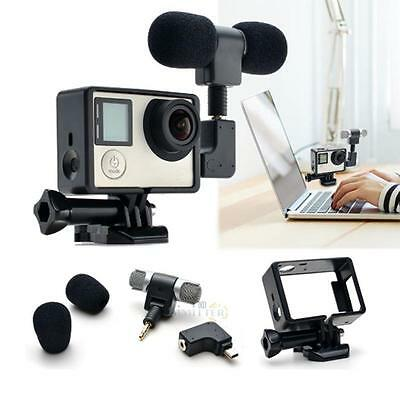 Black Side Open Skeleton Housing Case Microphone Adapter Kit for GoPro Hero 3+4