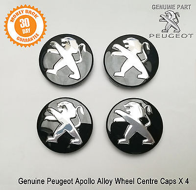 Peugeot 208 308 RCZ 3008 5008 Alloy Wheel Centre Caps Black x4 Set New Genuine
