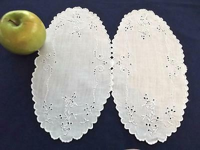 2 Antique White Madeira Embroidered Linen 6x11 Oval Doilies Delicate Flowers EC