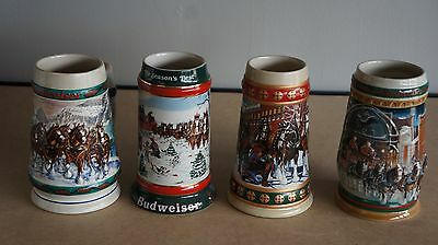 Lot Of 4 Budweiser Steins 1991 1993 (2 Different) 1997 Christmas Lot 1