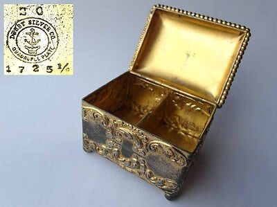 Alter Briefmarken-Spender/ Box, DERBY SILVER CO QUADRUPLE PLATE, um 1890