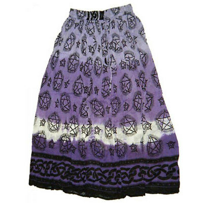 NEW Purple Pentagram Skirt Semi-Sheer Cotton Crinkle Tie-Dye Wicca - One Size