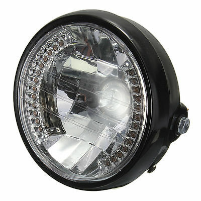 AF 7 Inch Motorcycle Round Headlight Halogen H4 Bulb Head Lamp For HARLEY BOBBER