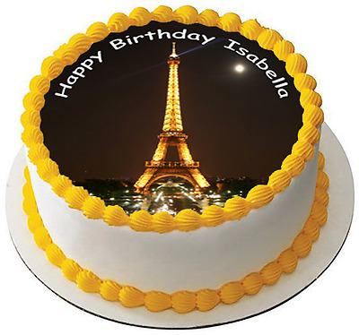 Admirable Paris Eiffel Tower Personalised Glitter Cake Pick Topper 4 50 Funny Birthday Cards Online Aeocydamsfinfo