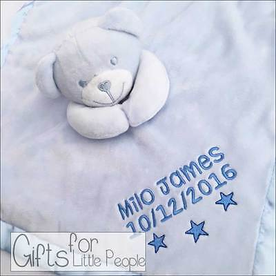 Personalised Blue baby teddy bear comforter, new baby boys / christening gift