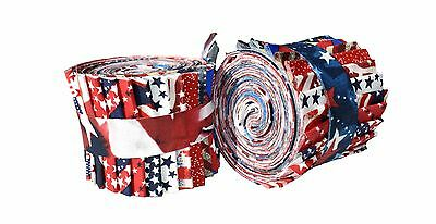 2.5 inch American Patriotic Jelly Roll 100% cotton fabric quilting strips
