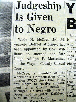 1954 newspaper WADE McCREE named 1st Negro judge 6th Circuit US COURT of APPEALS