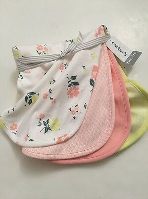 Carters Baby Girl Set of 4 Burp Cloths Pink  Yellow Floral Layette