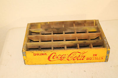 Coca Cola Bottle Crate Vintage Wooden Caddy Carrier Advertising 24 Slot Yellow