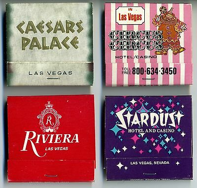Vintage Matchbooks-Circus Circus, Ceaser's Palace, Stardust, Riviera, Lot of 4