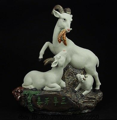 Chinese Pottery Wucai Porcelain Art Decoration Three Sheep Goat Statue Sculpture