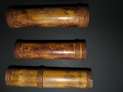 Vintage set of 3 carved old lime bamboo containerswith rattan rings, Philippines