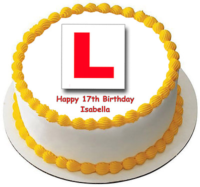 LEARNER DRIVE LPLATE 7.5 PREMIUM Edible ICING Cake Topper CAN BE PERSONALISED D2