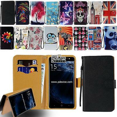 Leather Flip Card Wallet Stand Cover Case For Various Bluboo SmartPhones + Strap