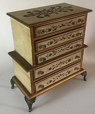 Vintage Toleware FLORENTINE Wood  Jewelry CHEST Box 5 Drawer Price Import Japan
