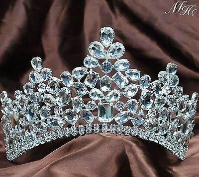 Stunning Hair Tiara Girl Crown Clear Crystal Wedding Prom Costumes Party Jewelry