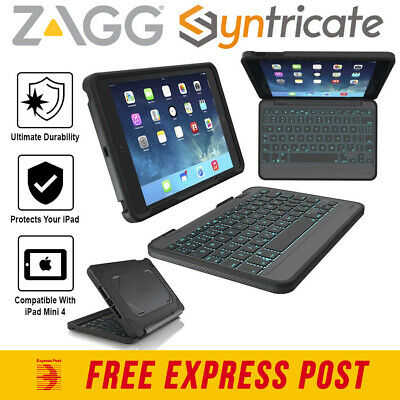 ZAGG RUGGED BOOK BLUETOOTH DETACHABLE BACKLIT KEYBOARD FOR iPAD MINI 4 - BLACK