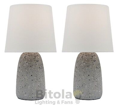 New Pair Of Mercator Effie Bedside Table Lamps Grey Terrazzo Concrete Base