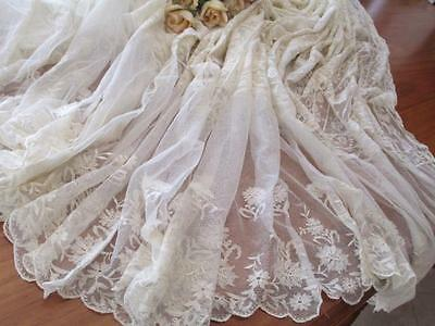Exquisite Early French Normandy Lace Bed Coverlet - Perfect Condition