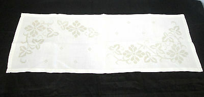 Vtg White Linen Hand Embroidered Taupe Cross Stitch Details Table Runner Cover