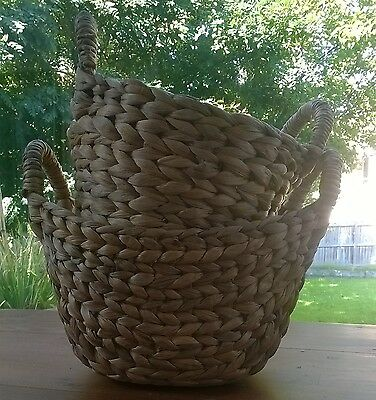 Rustic Round Sea grass Baskets x 2 with Handles - Beautiful!