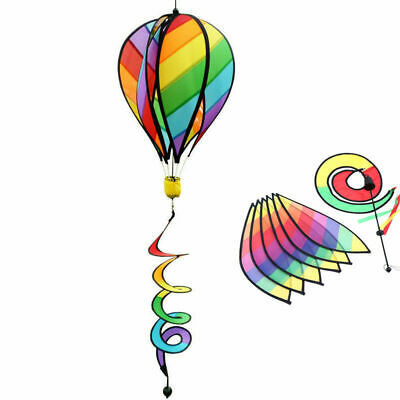 Striped Rainbow Windsock Hot Air Balloon Wind Spinner Garden Decor Kids Gift US