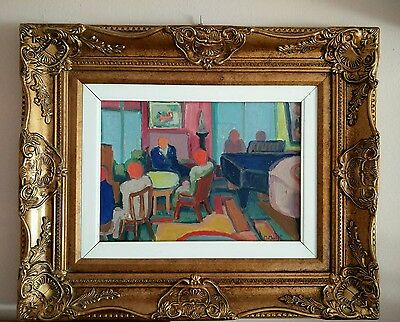 MARCEL MOULY ?? -- Personaiges a l'interieur -- oleo firmado M. Mouly '86