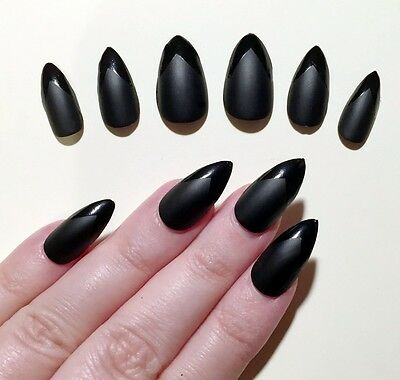 Hand Painted False Nails. STILETTO (Or ANY SHAPE) Matte & Gloss Black. UK