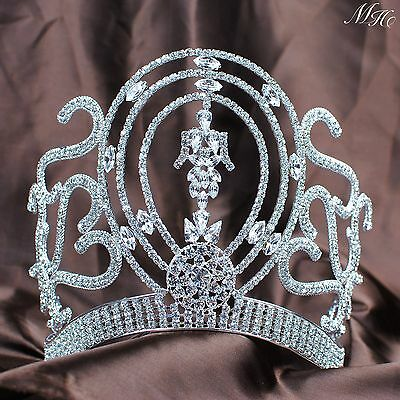 "Queen 6"" Women Large Crown Rhinestone Tiara Headband Wedding Bridal Pageant Prom"