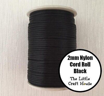80 Yards (73m) Roll Black Nylon Cord 2mm for Silicone Bead Necklace Jewellery