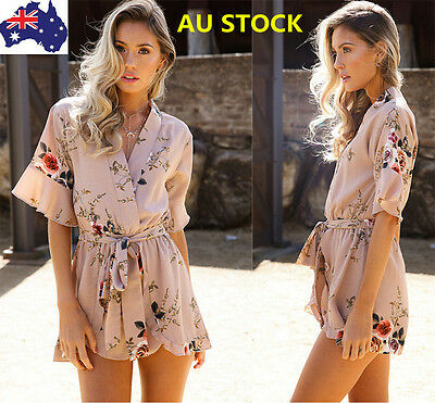 Women V Neck Floral Printed Short Sleeve Casual Party Beach Jumpsuit Playsuit