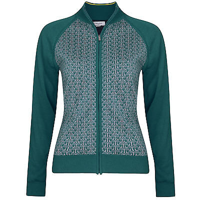New Calvin Klein Ladies Jacquard Design Lined Sweater Full Zip Golf Top Winter