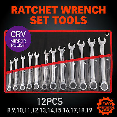12Pcs 8-19mm fixed Head Ratchet Gear Spanner Wrench Set CR-V STEEL Canvas